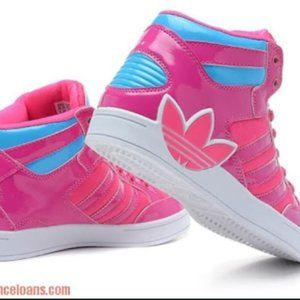 pink and blue high top adidas